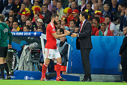 LILLE, FRANCE - Friday, July 1, 2016: Wales' Joe Ledley shakes hands with manager Chris Coleman after being substituted against Belgium during the UEFA Euro 2016 Championship Quarter-Final match at the Stade Pierre Mauroy. (Pic by David Rawcliffe/Propaganda)