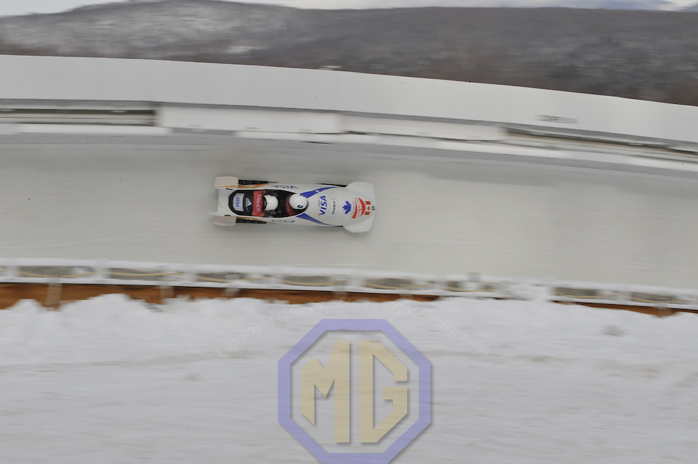 15 December 2007:  The Canada 1 sled driven by Pierre Lueders with Lascelles Brown on the brakes  competes in the FIBT World Cup Men's 2-man bobsled competition on December 15, 2007 at the Olympic Sports Complex in Lake Placid, NY.   The Canada 1 sled won the race with a time of 1:50.64.