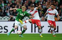 FUSSBALL   1. BUNDESLIGA   SAISON 2012/2013   4. SPIELTAG SV Werder Bremen - VfB Stuttgart                         23.09.2012        Kevin De Bruyne (li, SV Werder Bremen) gegen Tunay Torun (Mitte) und Martin Harnik (re, beide VfB Stuttgart)