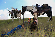 Shade is at a premium on the Montana prairie, so John Zeman and his German shorthair Willy take refuge from the sun in the shadow of his horse Buckwheat during a grouse hunt.