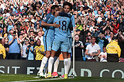 Manchester City Midfielder, Fabian Delph (18) celebrates his  goal 3-0 with Manchester City Midfielder, Leroy Sane (19) and Manchester City Defender, Gael Clichy (22) during the Premier League match between Manchester City and Hull City at the Etihad Stadium, Manchester, England on 8 April 2017. Photo by Mark Pollitt.
