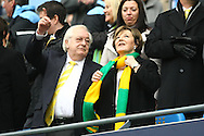 Picture by Paul Chesterton/Focus Images Ltd.  07904 640267.03/12/11.Norwich City's Joint Majority Shareholder Delia Smith and her husband Michael Wynn Jones before the Barclays Premier League match at the Etihad Stadium, Manchester.