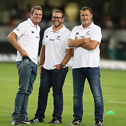 Sean Everitt (Assistant Coach) of the Cell C Sharks with Jaco Pienaar (Assistant Coach) of the Cell C Sharks and Robert du Preez (Head Coach) of the Cell C Sharks during the Super Rugby match between the Cell C Sharks and the Southern Kings at Growthpoint Kings Park in Durban, South Africa. 18th March 2017(Photo by Steve Haag Sports)