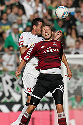 24.09.2011,  BorussiaPark, Mönchengladbach, GER, 1.FBL, Borussia Mönchengladbach vs 1. FC Nuernberg, im Bild.Jens Hegeler (Nuernberg #13) (R) gegen Martin Stranzl (Mönchengladbach #39)..// during the 1.FBL, Borussia Mönchengladbach vs 1. FC Kaiserslautern on 2011/09/24, BorussiaPark, Mönchengladbach, Germany. EXPA Pictures © 2011, PhotoCredit: EXPA/ nph/  Mueller *** Local Caption ***       ****** out of GER / CRO  / BEL ******