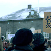 Icelanders demonstrating against the government. Reykjavik, January 2009