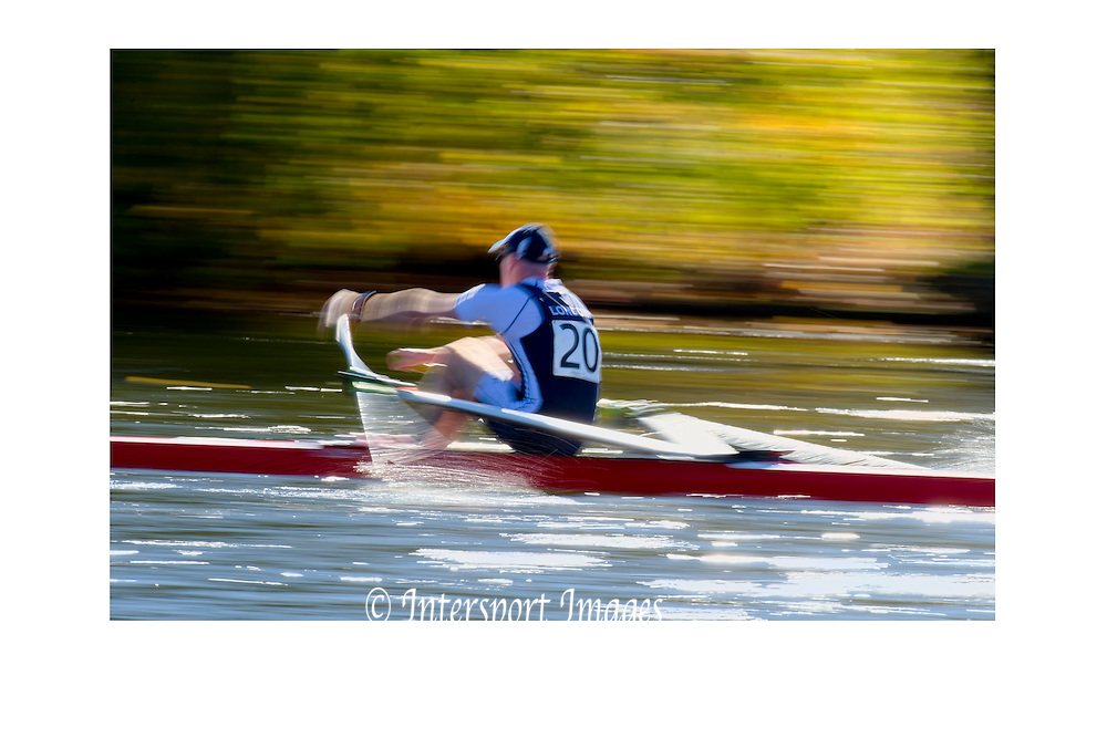 Cambridge. MA. USA.  Competitors moving towards the Eliot Bridge,  The Championship eights. 49th edition of the Head of the Charles, Charles River.<br />