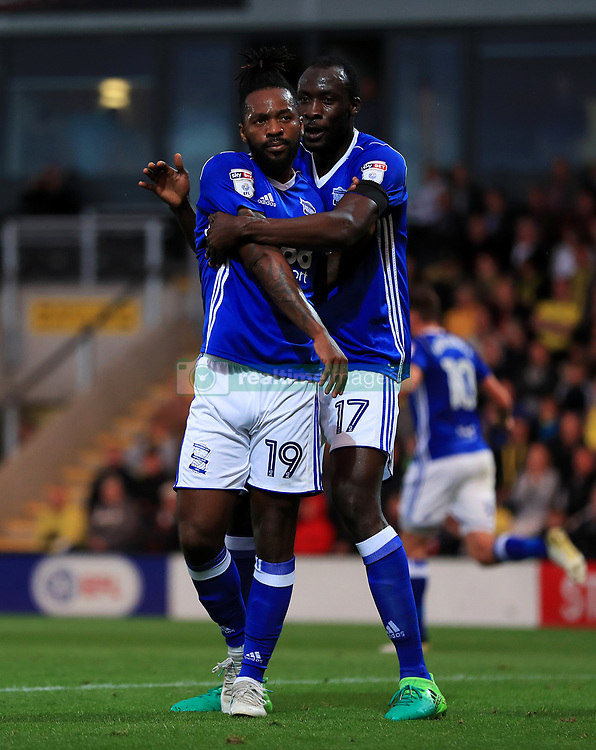 Birmingham City's Jacques Maghoma (left) celebrates with team-mate Cheikh N'Doye after scoring his side's first goal during the Sky Bet Championship match at the Pirelli Stadium, Burton.