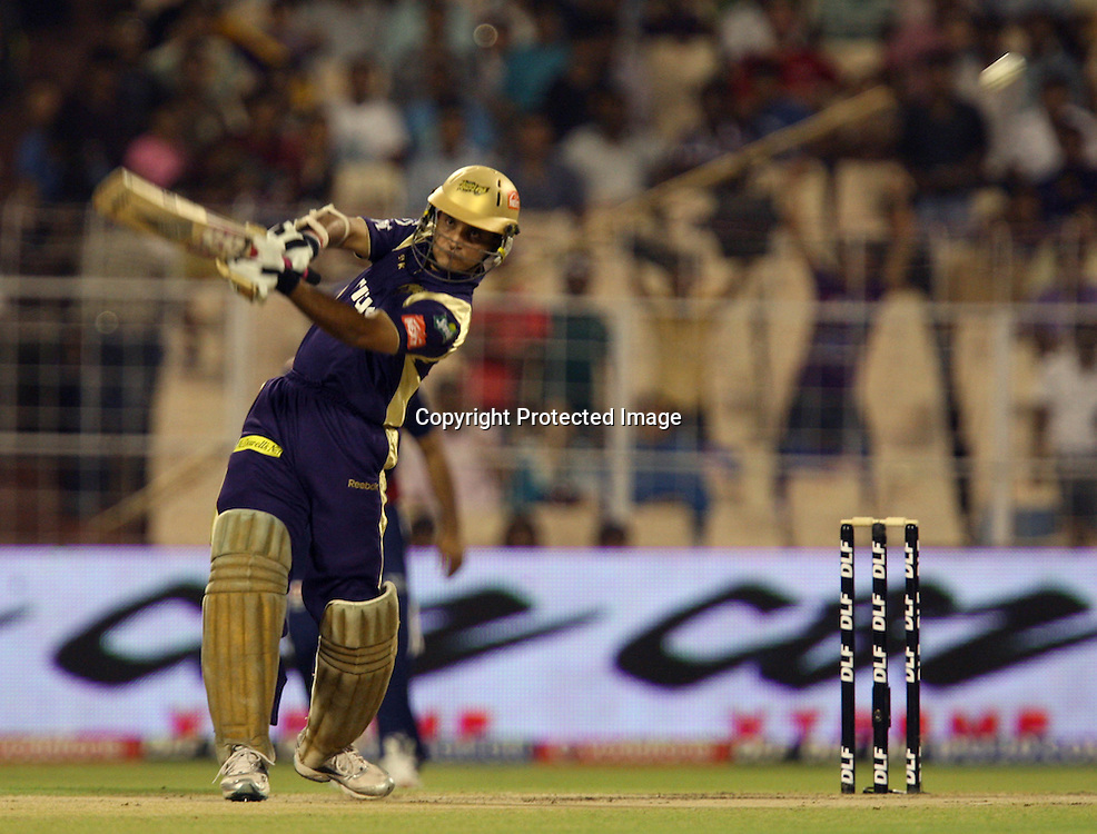 Kolkata Knight Riders Batsman Sourav Ganguly Hit The Shot Aganst Delhi Daredevils During The Indian Premier League - 39th match Twenty20 match | 2009/10 season Played at Eden Gardens, Kolkata 7 April 2010 - day/night (20-over match)