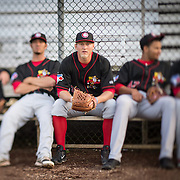 The Vancouver Canadians pitcher,  Jonathon Wandling, sits in the bullpen before a game vs. the Everett Aquasox at Everett Memorial Stadium.