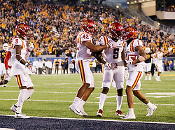 Nov 4, 2017; Morgantown, WV, USA; Iowa State Cyclones defensive back D'Andre Payne (1) celebrates with teammates after intercepting a pass during the fourth quarter against the West Virginia Mountaineers at Milan Puskar Stadium. Mandatory Credit: Ben Queen-USA TODAY Sports