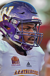 NORMAL, IL - October 06:  Khalen Sauders during a college football game between the ISU (Illinois State University) Redbirds and the Western Illinois Leathernecks on October 06 2018 at Hancock Stadium in Normal, IL. (Photo by Alan Look)