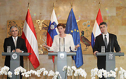 20.06.2014, Schloss Brdo, Ljubljana, SLO, trilaterales Treffen Ministerpraesidenten, Österreich, Slowenien und Kroatien unterstützen die Wahl des früheren luxemburgischen Regierungschefs Jean-Claude Jucker zum EU-Kommissionspräsidenten, im Bild President of the Slovenian Government Alenka Bratusek, president of the Austrian Government Werner Faymann and Croatian Prime Minister Zoran Milanovic // Austria, Slovenia and Croatia support the choice of the former Government of Luxembourg Jean-Claude Jucker to EU Commission President Schloss Brdo in Ljubljana, Slovenia on 2014/06/20. EXPA Pictures © 2014, PhotoCredit: EXPA/ Pixsell/ Zeljko Lukunic<br /> <br /> *****ATTENTION - for AUT, SLO, SUI, SWE, ITA, FRA only*****