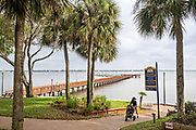 The Stuart Boardwalk at Flagler Park in the historic downtown in Stuart, Florida. The tiny hamlet was founded in 1870 and was voted the Happiest Seaside Town in America by Coastal Living.