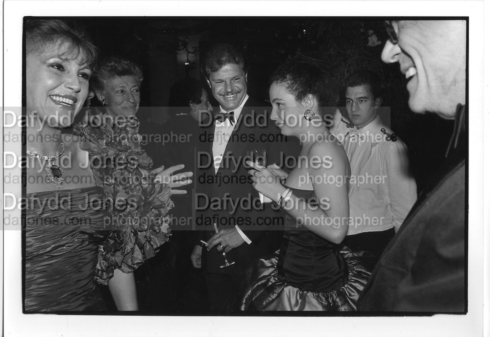 Baroness 'Tita' Thyssen Bornemisa, Prince Egon von Furstenberg and Princess Tatiana von Furstenberg Faberge exhibtion 1987 ONE TIME USE ONLY - DO NOT ARCHIVE  © Copyright Photograph by Dafydd Jones 66 Stockwell Park Rd. London SW9 0DA Tel 020 7733 0108 www.dafjones.com