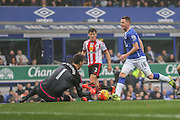 Sunderland goalkeeper Costel Pantilimon saves at the feet of Everton midfielder James McCarthy during the Barclays Premier League match between Everton and Sunderland at Goodison Park, Liverpool, England on 1 November 2015. Photo by Simon Davies.