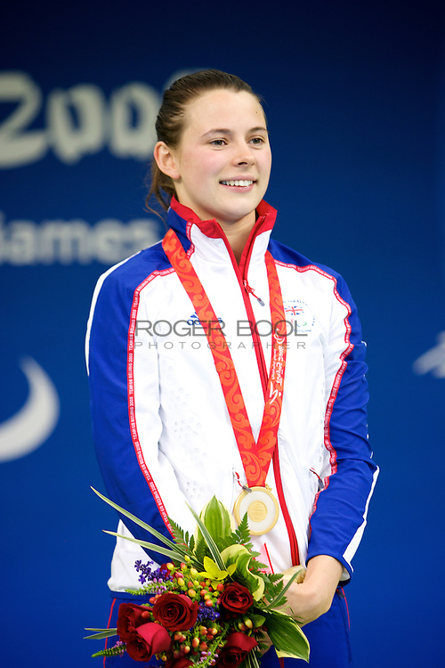 Elizabeth Johnson of Great Britain recieves the Gold Medal for the women's 100 metre breaststroke SB 6 at the National Aquatics centre at the Beijing Paralympic Games 2008, China. 12th September 2008.