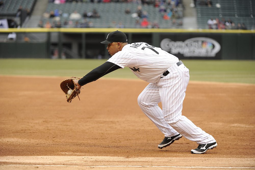 CHICAGO - APRIL 03:  Jose Abreu #79 of the Chicago White Sox fields against the Kansas City Royals on April 3, 2014 at U.S. Cellular Field in Chicago, Illinois.  (Photo by Ron Vesely)
