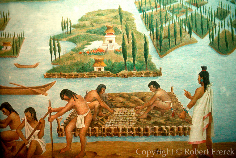 MEXICO, MEXICO CITY, MUSEUM AZTEC; the building of chinampas