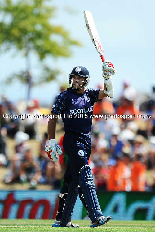 Scotland player Kyle Coetzer celebrates his 150 which is also the highest by a Scotland player during the 2015 ICC Cricket World Cup match between Bangladesh v Scotland. Saxton Oval, Nelson, New Zealand. Thursday 5 March 2015. Copyright Photo: Chris Symes / www.photosport.co.nz