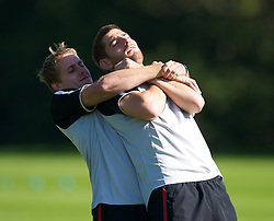 CARDIFF, WALES - Tuesday, August 31, 2010: Wales' David Edwards and Ched Evans fool around during training at the Vale of Glamorgan ahead of the UEFA Euro 2012 Qualifying Group 4 match against Montenegro. (Pic by David Rawcliffe/Propaganda)