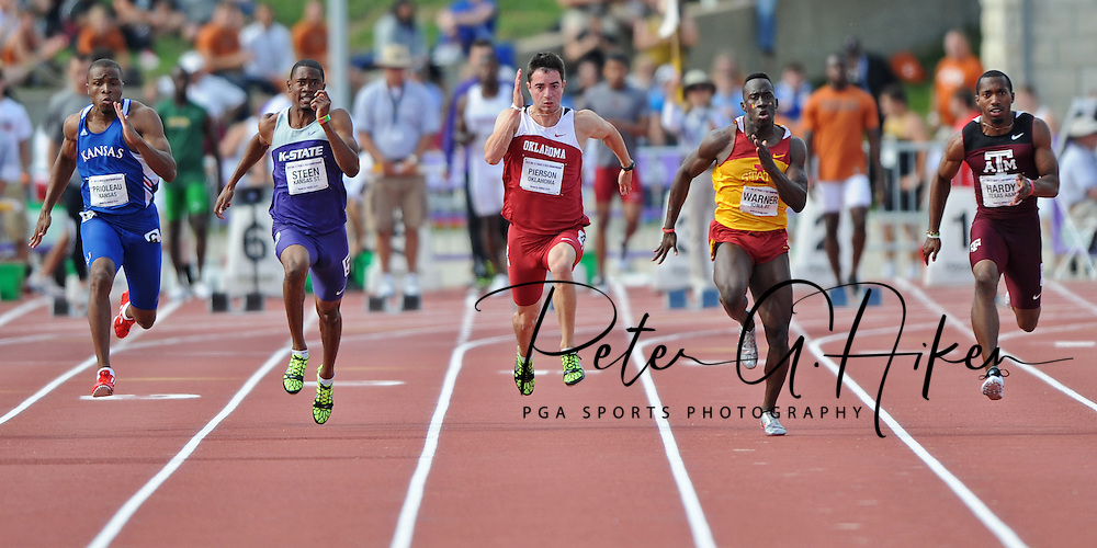 University of Oklahoma -- (L-R) Daniel Prioleau of Kansas, Dan Steen of Kansas State, Evan Pierson of Oklahoma, Ian Warner of Iowa State and Prezel Hardy Jr. of Texas A&M compete in the Men's 100 Meter Dash at the Big 12 Track & Field Championships at the R.V. Christian Track Complex in Manhattan, Kansas.