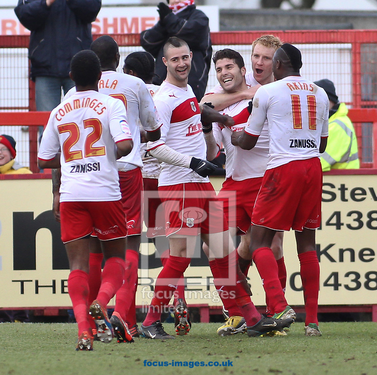 Picture by David Horn/Focus Images Ltd +44 7545 970036.16/03/2013.Dani Lopez of Stevenage (3rd right) celebrates scoring his and his side's third goal during the npower League 1 match at the Lamex Stadium, Stevenage.