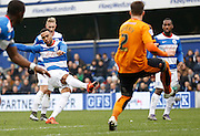 Queens Park Rangers midfielder Matt Phillips lets fly from a freekick just outside the box during the Sky Bet Championship match between Queens Park Rangers and Wolverhampton Wanderers at the Loftus Road Stadium, London, England on 23 January 2016. Photo by Andy Walter.