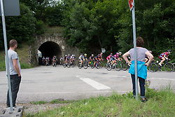 The peloton rides under a railway tunnel on Stage 3 of the Lotto Thuringen Ladies Tour - a 124 km road race, starting and finishing in Weimar on July 15, 2017, in Thuringen, Germany. (Photo by Balint Hamvas/Velofocus.com)