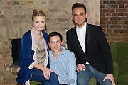 19/04/2012. London, UK. Former member of pop-rock bands Busted and Son of Dork James Bourne and writer and composer Elliot Davis introduce the cast of their original British  musical LOSERVILLE. Premiering at the West Yorkshire Playhouse, Leeds. Picture shows: Aaron Sidwell (Michael)and Eliza Hope Bennett (Holly) and Gareth Gates (Eddie).
