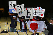 LOS ANGELES, CA - MARCH 22: Fans of Japan hold up signs prior to the game against USA in game two of the semifinal round of the 2009 World Baseball Classic at Dodger Stadium in Los Angeles, California on Sunday March 22, 2009. Japan defeated USA 9-4. (Photo by Paul Spinelli/WBCI/MLB Photos)