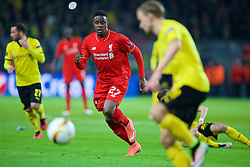 DORTMUND, GERMANY - Thursday, April 7, 2016: Liverpool's Divock Origi in action against Borussia Dortmund during the UEFA Europa League Quarter-Final 1st Leg match at Westfalenstadion. (Pic by David Rawcliffe/Propaganda)