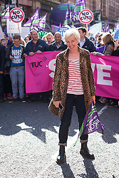 "© Licensed to London News Pictures . 29/09/2013 . Manchester , UK . Coronation Street actress Julie Hesmondhalgh who plays Hayley Cropper , at the front of the march . A Unison lead demonstration titled "" Save our NHS "" through Manchester City Centre today (Sunday 29th September 2013) coinciding with the Conservative Party Conference in the city . Photo credit : Joel Goodman/LNP"