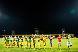21.07.2016, Sports Park, Domzale, SLO, UEFA EL, NK Domzale vs Shakhtar Donetsk, Qualifikation, 2. Runde, Rueckspiel, im Bild Players of Domzale celebrate after winning // during the UEFA Europaleague Qualifier 2nd round, 2nd leg match between Grasshopper Club and KR Reykjavik at the Sports Park in Domzale, Slovenia on 2016/07/21. EXPA Pictures © 2016, PhotoCredit: EXPA/ Sportida/ Vid Ponikvar<br /> <br /> *****ATTENTION - OUT of SLO, FRA*****