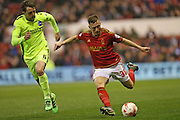 Nottingham Forest midfielder Ben Osborn (38) and Brighton central midfielder, Dale Stephens (6) during the Sky Bet Championship match between Nottingham Forest and Brighton and Hove Albion at the City Ground, Nottingham, England on 11 April 2016.
