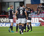 Dundee&rsquo;s Faissal El Bakhtaoui (right) is congratulated after scoring the opening goal - Dundee v Buckie Thistle, Betfred Cup at Dens Park, Dundee, Photo: David Young<br /> <br />  - &copy; David Young - www.davidyoungphoto.co.uk - email: davidyoungphoto@gmail.com
