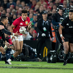 Aaron Smith offloads to Rieko Ioane during game 7 of the British and Irish Lions 2017 Tour of New Zealand, the first Test match between  The All Blacks and British and Irish Lions, Eden Park, Auckland, Saturday 24th June 2017<br /> (Photo by Kevin Booth Steve Haag Sports)<br /> <br /> Images for social media must have consent from Steve Haag