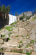 Vernal Falls and stone steps on the Mist Trail, Yosemite National Park, California USA
