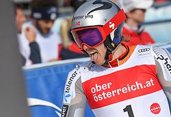 26.10.2019, Hannes Trinkl Weltcupstrecke, Hinterstoder, AUT, FIS Weltcup Ski Alpin, Riesenslalom, Herren, 2. Lauf, im Bild Henrik Kristoffersen (NOR) dritter Platz // Henrik Kristoffersen of Norway third place reacts after his 2nd run of men's Giant Slalom of FIS ski alpine world cup at the Hannes Trinkl Weltcupstrecke in Hinterstoder, Austria on 2019/10/26. EXPA Pictures © 2020, PhotoCredit: EXPA/ Erich Spiess