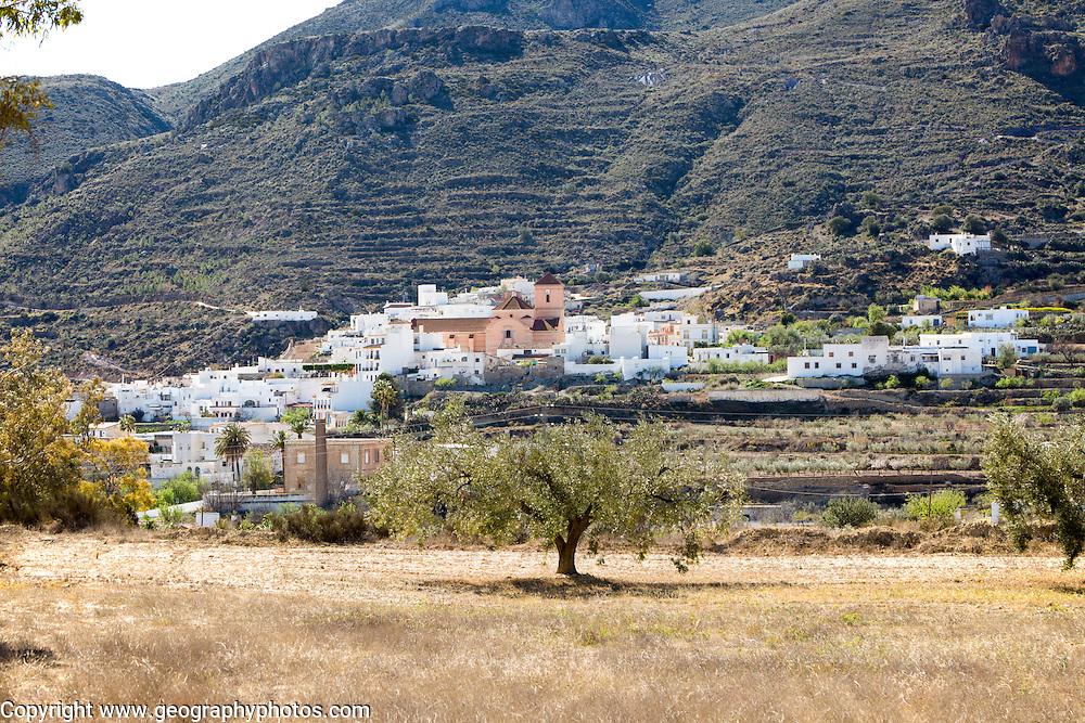 Landscape and small village of Lucainea de las Torres, in Sierra Alhamilla mountains, near Nijar, Almeria, Spain