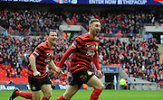 Louis Moult celebrates his goal during the FA Carlsberg Trophy Final match between North Ferriby United and Wrexham FC at Eon Visual Media Stadium, North Ferriby, United Kingdom on 29 March 2015. Photo by Michael Hulf.
