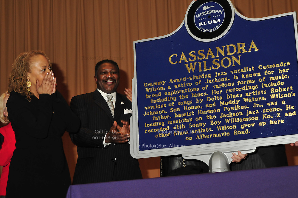 Mississippi Blues Commission dedicates the 100th Blues Trail Marker to Grammy Award winner Casandra Wilson Thursday Jan. 7,2010 in Jackson Mississippi at Brinkley Middle School, where Casandra went to school and grew up down the block. Photo ©Suzi Altman/Suzisnaps.com