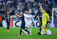 Carton jaune Marco VERRATTI / Ruddy BUQUET - 05.04.2015 - Marseille / Paris Saint Germain - 31eme journee de Ligue 1<br />