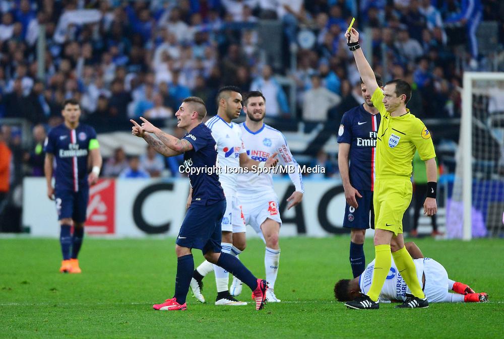 Carton jaune Marco VERRATTI / Ruddy BUQUET - 05.04.2015 - Marseille / Paris Saint Germain - 31eme journee de Ligue 1<br />Photo : Dave Winter / Icon Sport