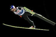 Maciej Kot from Poland competes during FIS World Cup Ski Jumping competition in Wisla, Poland on January 16, 2014.<br /> <br /> Poland, Wisla, January 16, 2014.<br /> <br /> Picture also available in RAW (NEF) or TIFF format on special request.<br /> <br /> For editorial use only. Any commercial or promotional use requires permission.<br /> <br /> Mandatory credit:<br /> Photo by © Adam Nurkiewicz / Mediasport
