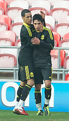 BLACKPOOL, ENGLAND - Wednesday, March 3, 2011: Liverpool's Gerardo Alfredo Bruna Blanco celebrates scoring the equalising goal against Blackpool with team-mate Thomas Ince (L) during the FA Premiership Reserves League (Northern Division) match at Bloomfield Road. (Photo by David Rawcliffe/Propaganda)