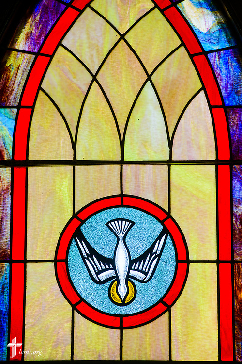 Stained glass depicting the Holy Spirit at Zion Evangelical Lutheran Church, Lu Verne, Iowa, on Sunday, July 9, 2017. LCMS Communications/Erik M. Lunsford