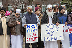 March 22, 2019 - Hamtramck, Michigan, U.S. - Hamtramck, Michigan - Protest against expansion of US Ecology's hazardous waste plant in a low-income, mostly immigrant neighborhood. US Ecology handles a wide variety of toxic materials and discharges much of it into the Detroit sewer system. (Credit Image: © Jim West/ZUMA Wire)