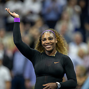 2019 US Open Tennis Tournament- Day Eleven.  Serena Williams of the United States celebrates her victory against Elina Svitolina of the Ukraine after her on court interview during the Women's Singles Semi-Finals match on Arthur Ashe Stadium during the 2019 US Open Tennis Tournament at the USTA Billie Jean King National Tennis Center on September 5th, 2019 in Flushing, Queens, New York City.  (Photo by Tim Clayton/Corbis via Getty Images)