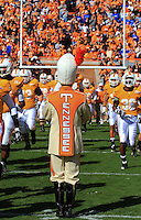 "November 27,2010: Tennessee Volunteers run through the ""Power T"" formed by the band prior to a game against Kentucky at Neyland Stadium in Knoxville, Tennessee. Tennessee won by 24 to 14, extending their win streak over Kentucky to 26 straight."