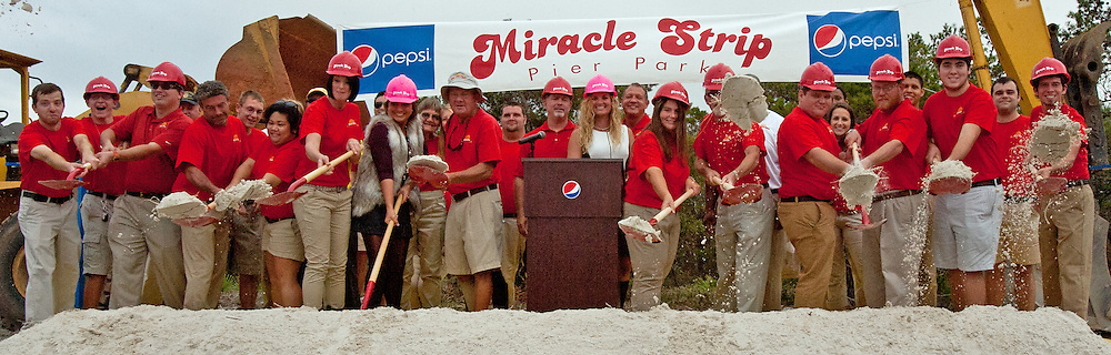 Miracle Strip Pier Park owners Teddy & Jenny Meeks join Miracle Strip employees in the ground breaking of the expanded Miracle Strip Pier Park
